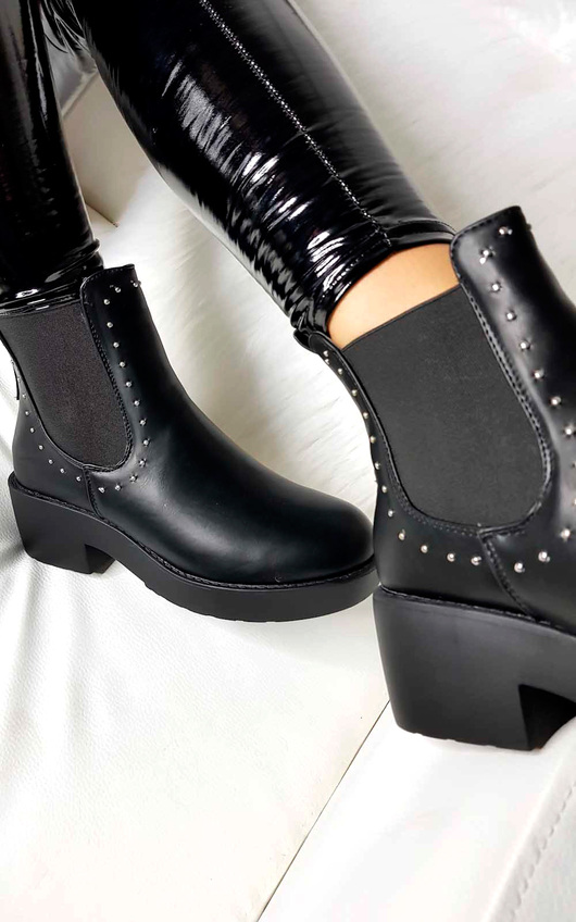 Faye Studded Chelsea Faux Leather Ankle Boots