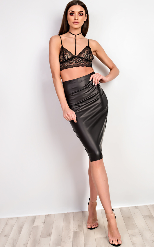 Cadie Faux Leather Midi Skirt
