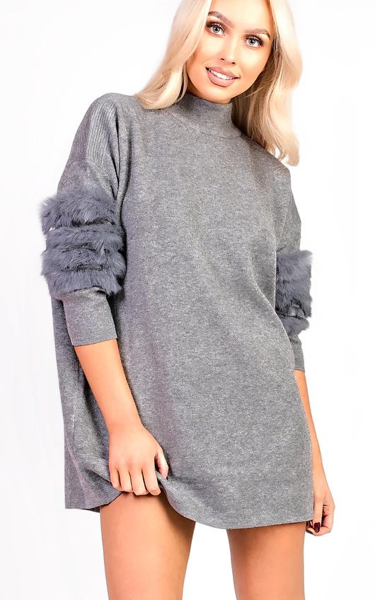 Eva Faux Fur Panel Knitted Dress