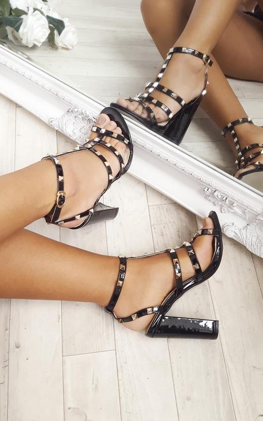 Miley Studded Patent Block Heels