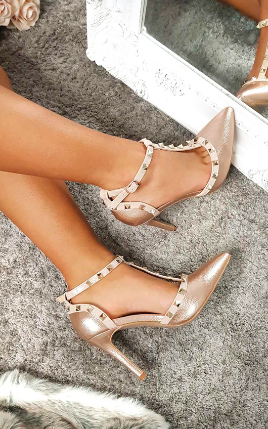 Kimm Multi Strap T-Bar Studded Court Heels