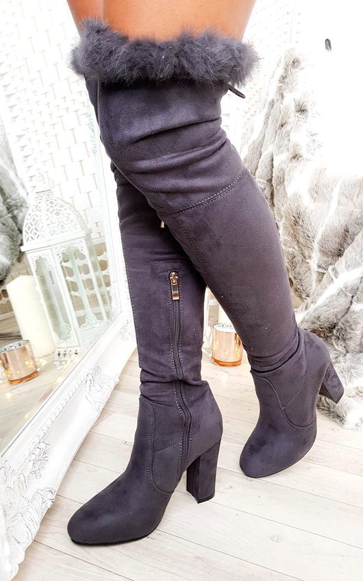 Claudia Faux Suede Fur High Boots