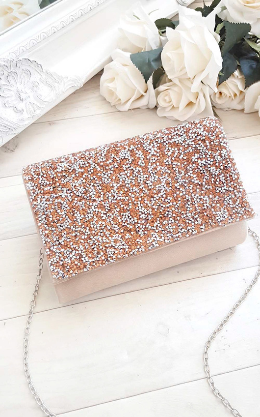 Rose Embellished Clutch Bag
