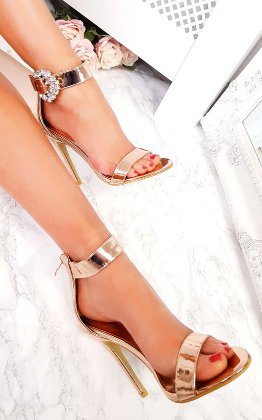 Abel Peep Toe Diamante Brooch Heels