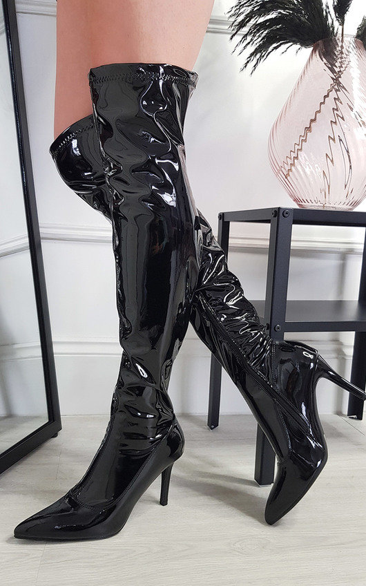 Abigail Knee High Patent Boots
