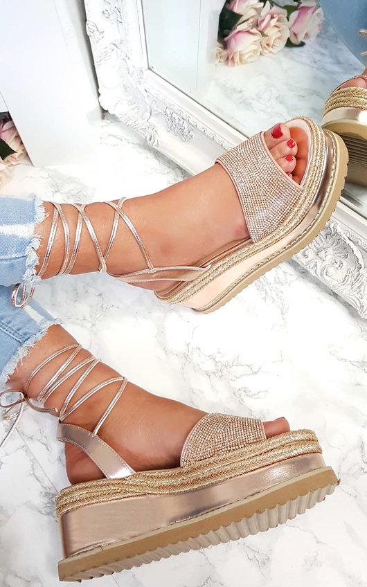 Adalyn Metallic Diamante Lace Up Wedge Sandal