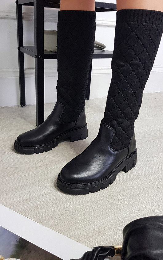 Adele Knee High Padded Texture Boot