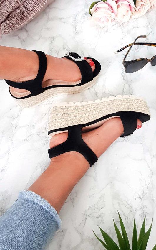 Afia Double Buckle Flatform Sandals