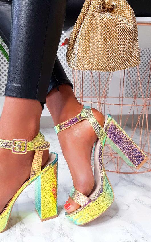 Afia Iridescent Platform Block Heels