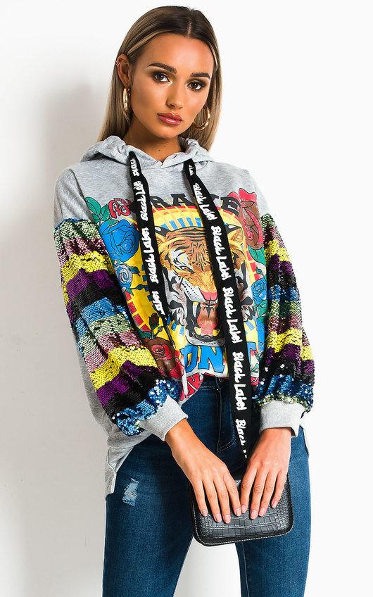 Aikha Sequin Embellished Oversized Hooded Jumper