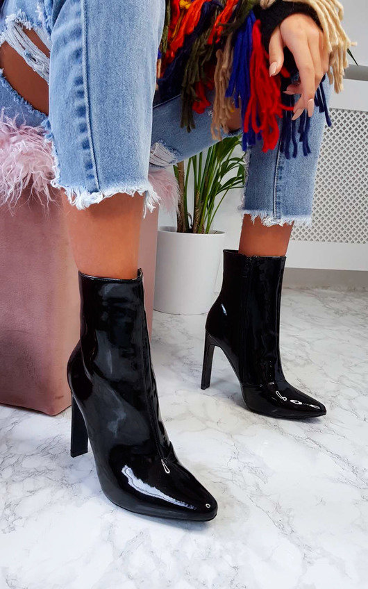 Ailie Patent Pointed Boots
