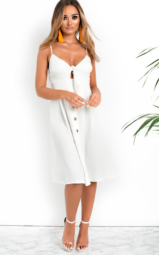 5c2f1c83ac7 Aimee Button Up Tie Midi Dress in White