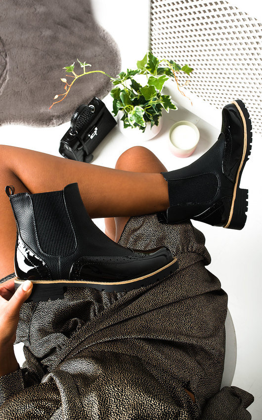 Aimee Faux Leather Brogue Chelsea Boots