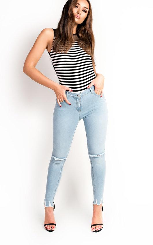Aimee High Neck Mesh Stripe Bodysuit