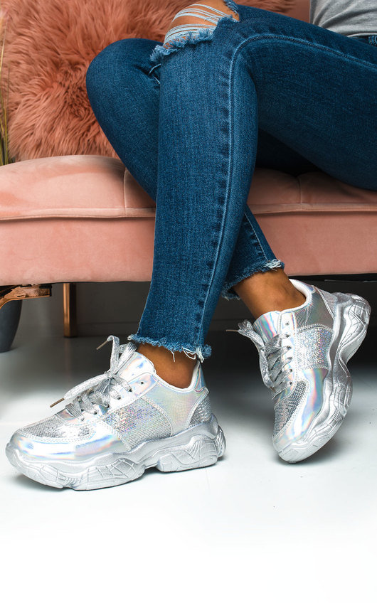 Aimee Holographic Sequin Chunky Trainers