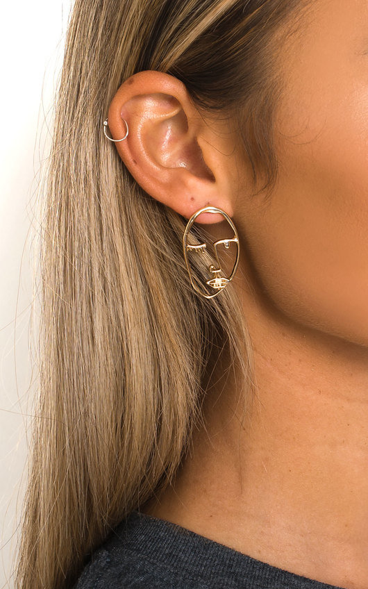 Ains Face Statement Earrings