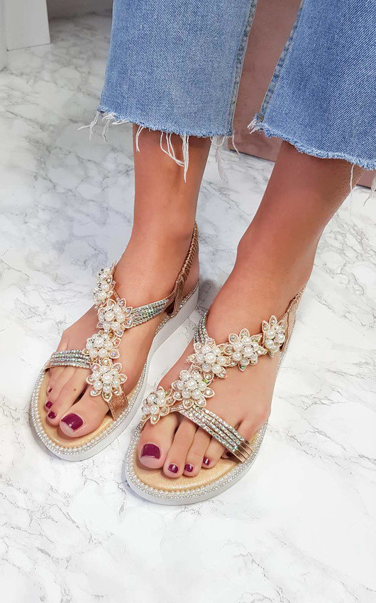 Ains Iridescent Pearl Embellished Sandals