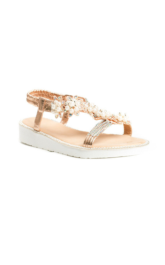 4e57dfcebff7 Ains Iridescent Pearl Embellished Sandals in Champagne