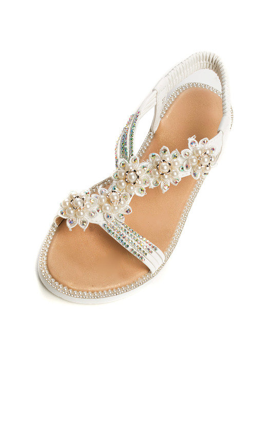 9b2dccb30618 Ains Iridescent Pearl Embellished Sandals in White