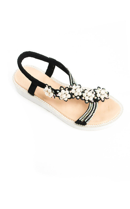 2e1b32befa6b Ains Iridescent Pearl Embellished Sandals in Black