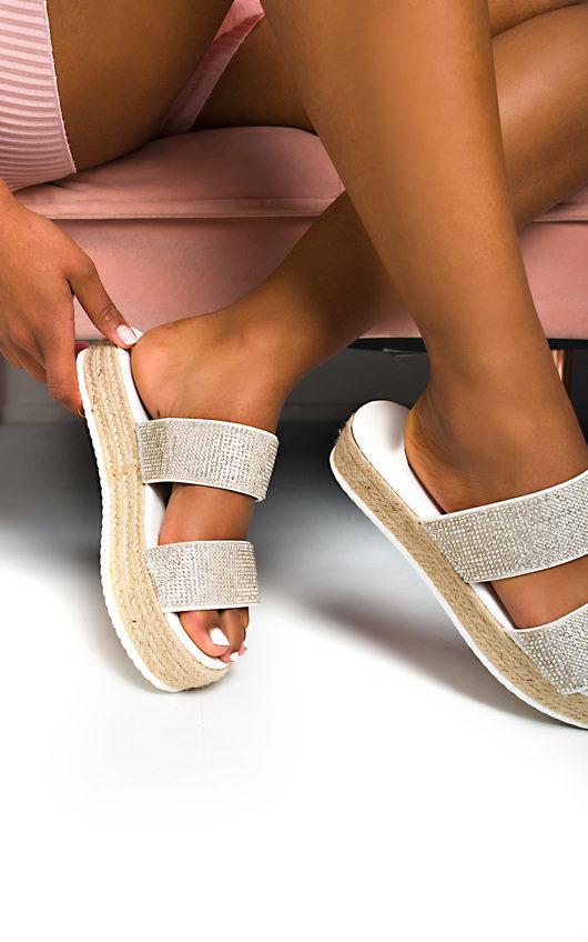 Ainslie Flatform Diamante Sandals