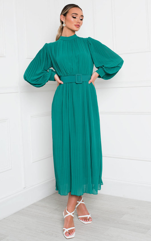 Ainslie Pleated Belted Maxi Dress