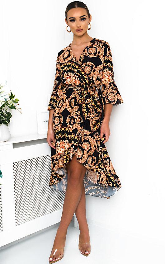 Aisleen Printed Wrap Midi Dress