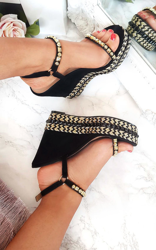Alaia Studded Braided Strap Wedges