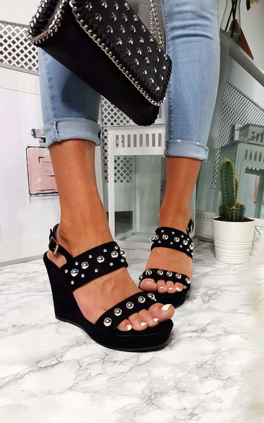 Alana Faux Suede Studded Wedges