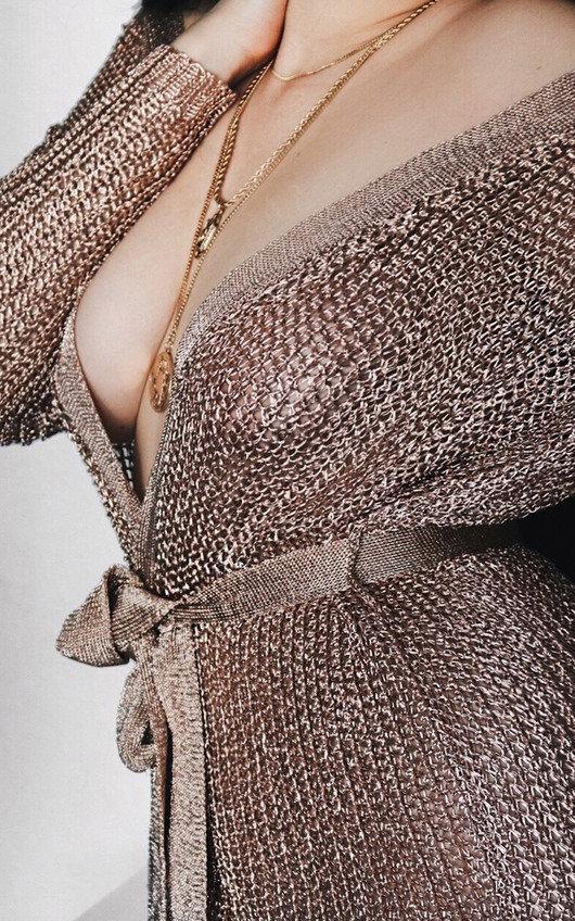 Alaska Metallic Tie Waist Knit Dress