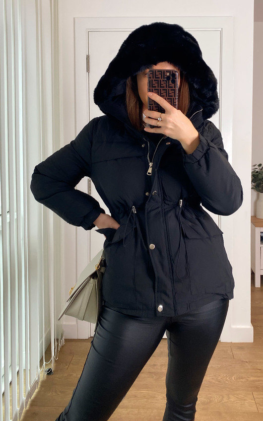 Alba Padded Hooded Faux Fur Coat