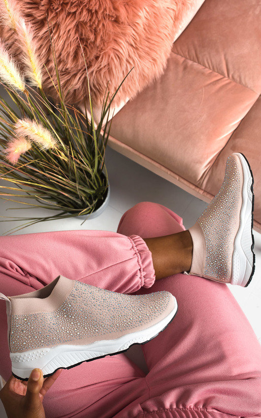 Alexa Diamante Embellished Sock Trainers