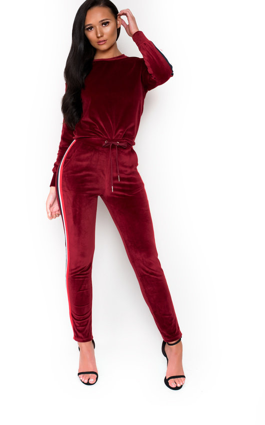 Alexa Striped Velour Tracksuit