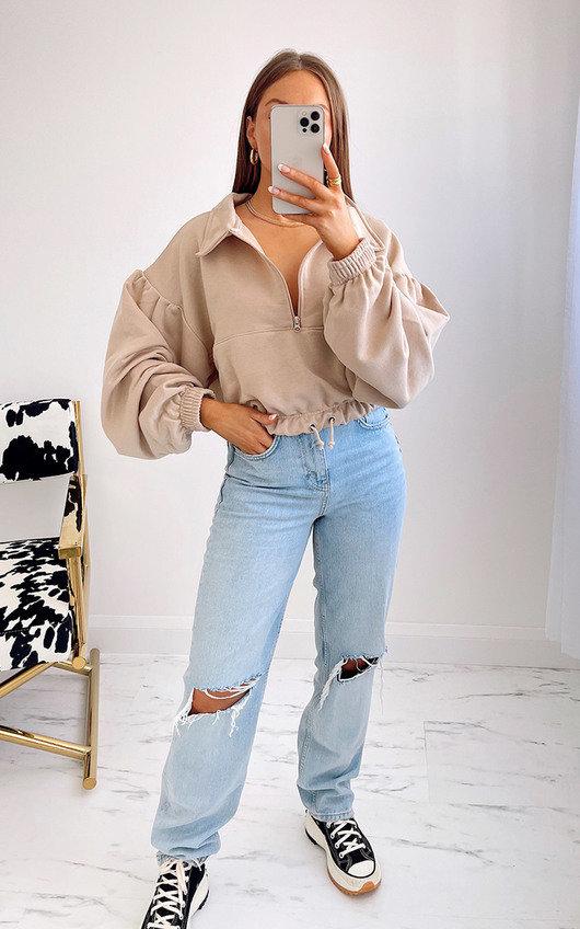 Alexa Zip Up Oversized Cropped Sweatshirt