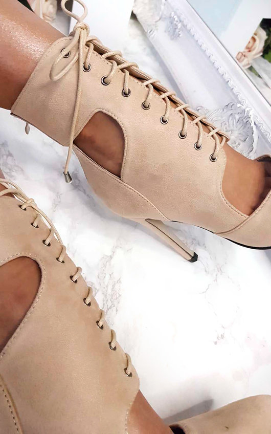 0082ad4571f95a Alexandra Lace up Corset Heels in Beige