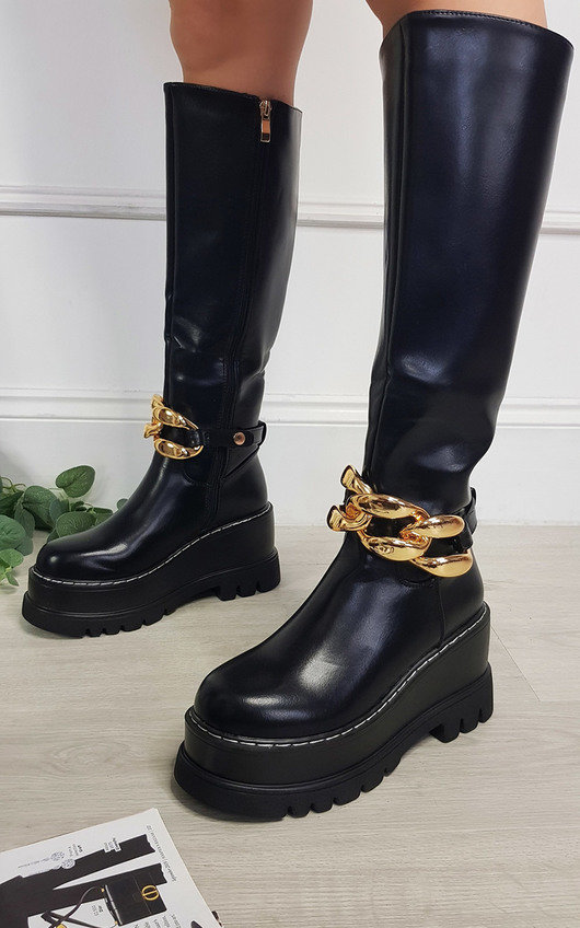 Alice Faux Leather Knee High Boot with Chain Detail