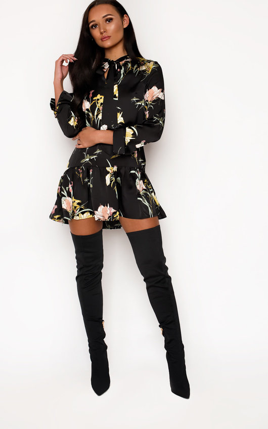 Alisa Floral Frill Tie Dress