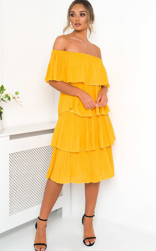 Alissa Off Shoulder Tiered Midi Dress