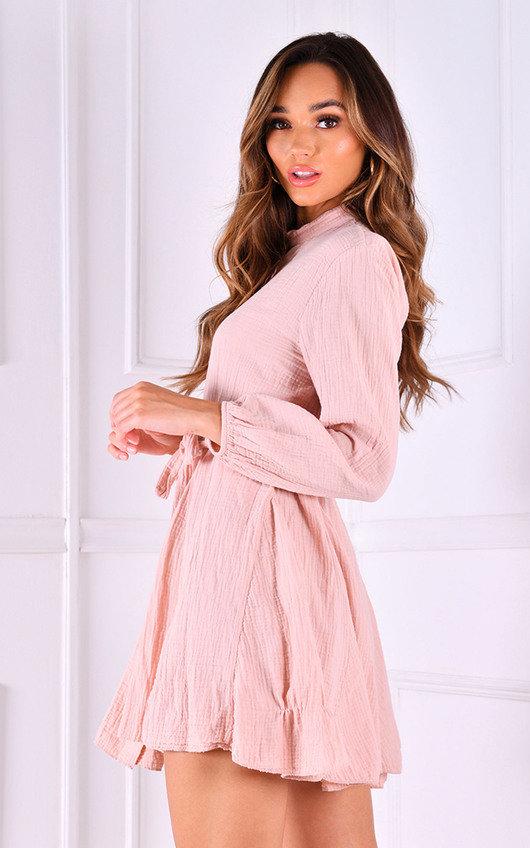 Ally Cheesecloth Tie Waist Button Up Shirt Dress