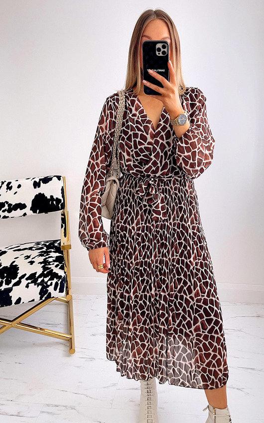 Allysha Geometric Print Pleated Maxi Dress