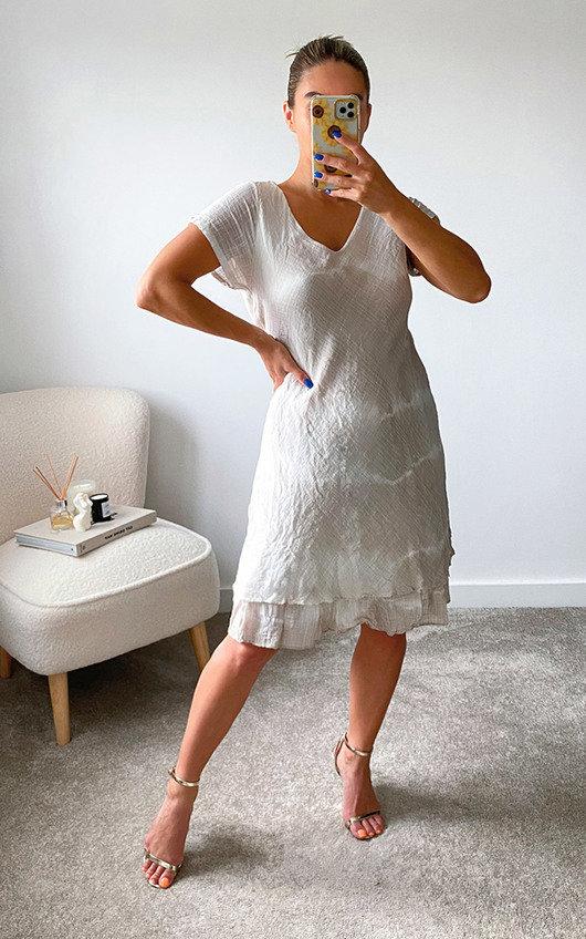 Alma Ruffle Hem Printed Midi Dress