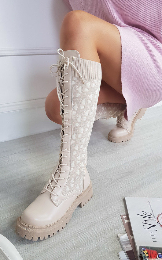 Alphera Printed Knee Length Lace Up Sock Boots