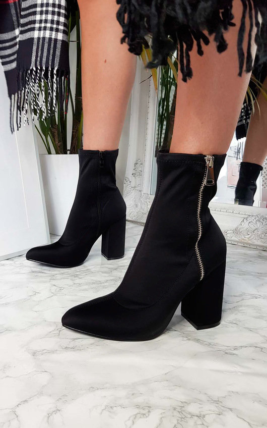Alyiah Lycra Heeled Ankle Boots