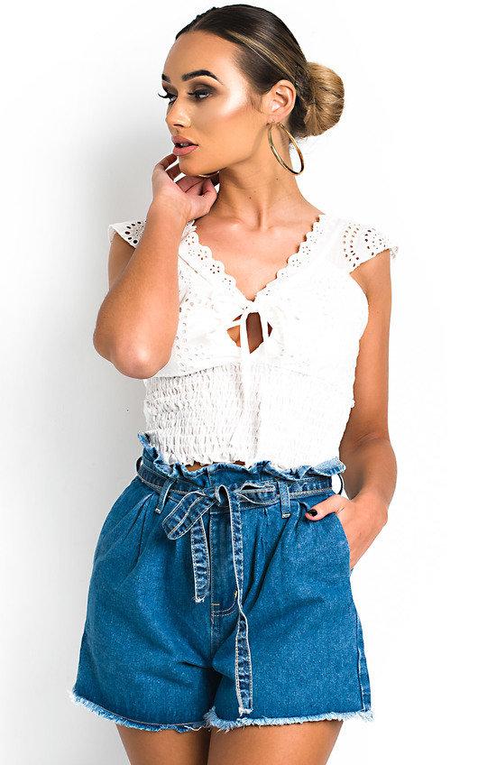 Alyssa Crochet Lace Up Top
