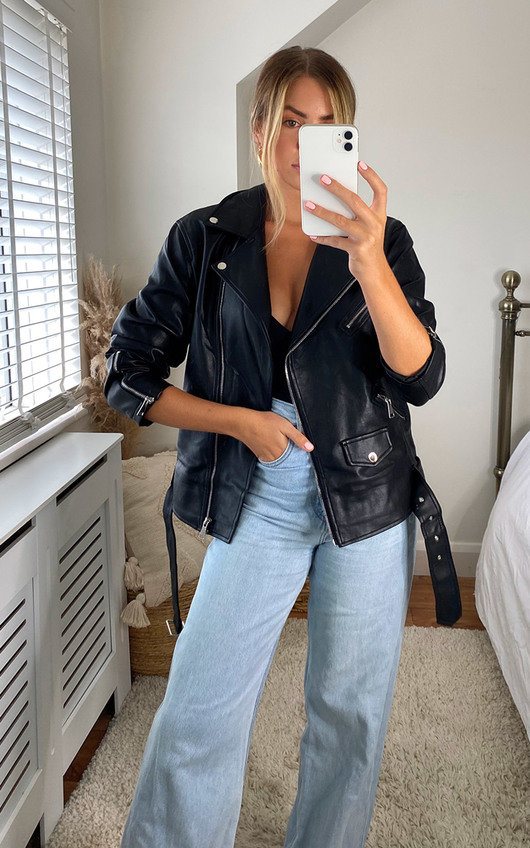 Ama Zip Up Faux Leather Jacket