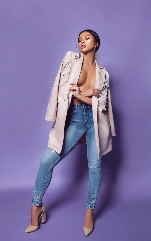 Amada Beaded Mid Rise Embellished Jeans