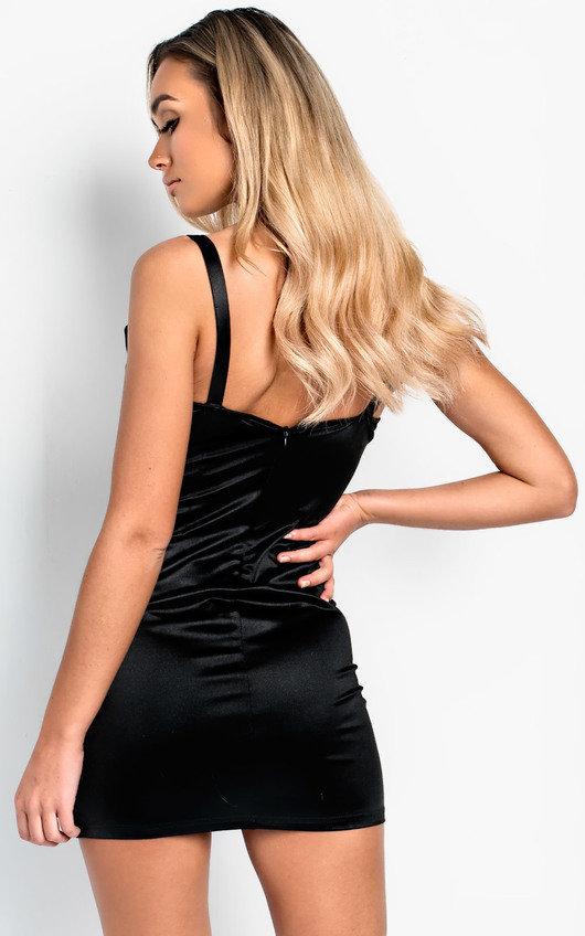 91797099f6f2 Amalia Chain Strap Satin Mini Dress in Black   ikrush