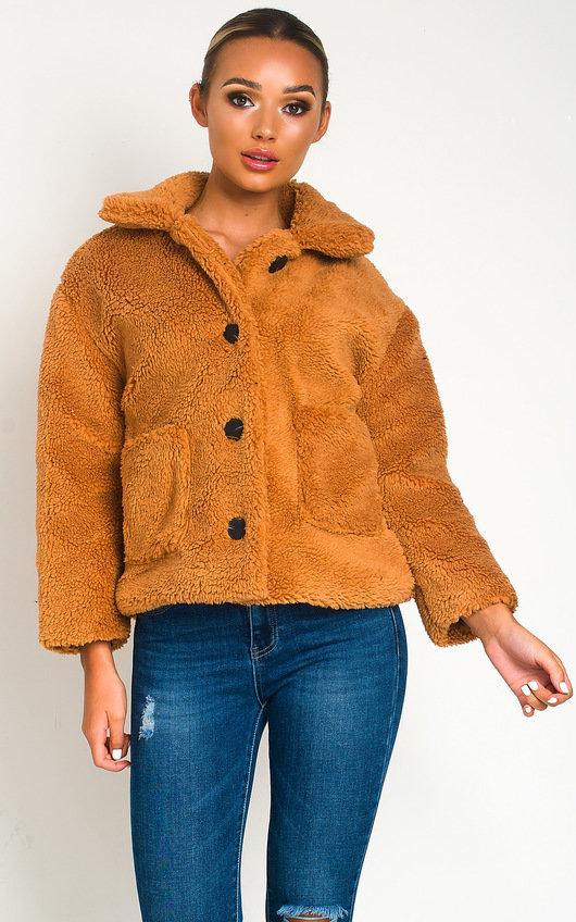Amalie Teddy Bear Button Up Jacket