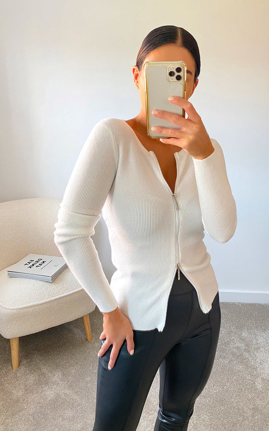 Amanza Knitted Zipped Front Top