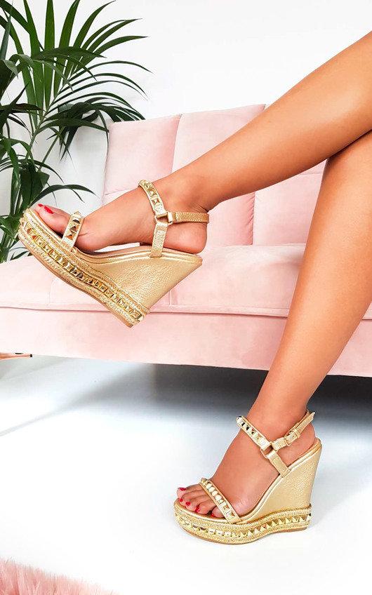 Amaya Metallic Studded Strap Wedged Heels